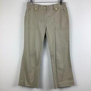 Michael Kors Capri Cropped Khaki Pant in Tan